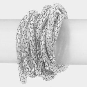 10 layer Stretch Bracelet-Silver-8405