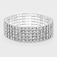 5 Row Rhinestone Stretch Bracelet-8074