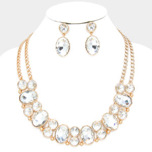 Bubble Rhinestone Necklace Set Clear-Gold-9891