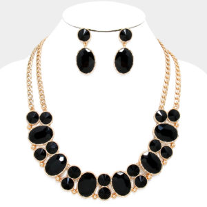 Bubble Rhinestone Necklace Set Gold-Blk-9893
