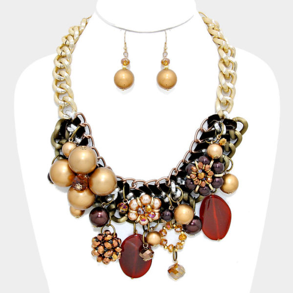 Chunky Flower Necklace Set-Brown-7813