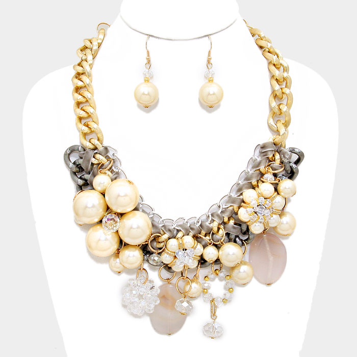 chunky flower necklace set focused fashions