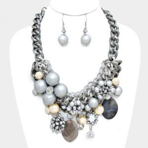 Chunky Flower Necklace Set-Grey-Cream-7819