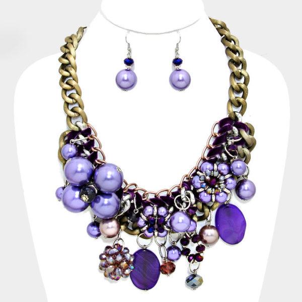Chunky Flower Necklace Set-Purple-7812