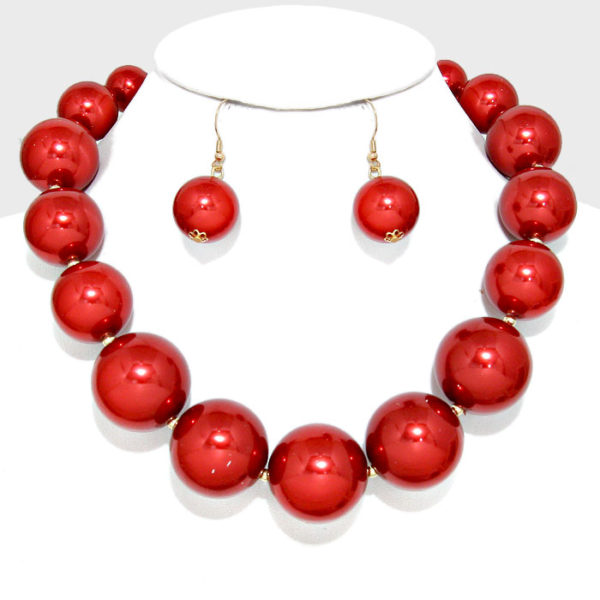 Chunky Pearl Set-Red-9129