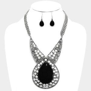 Crystal Teardrop Stone Necklace Set
