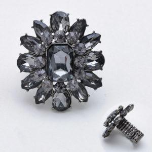 Flower Stretch Ring Hematite-2453