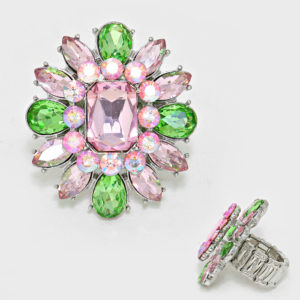 Flower Stretch Ring Pink-Green