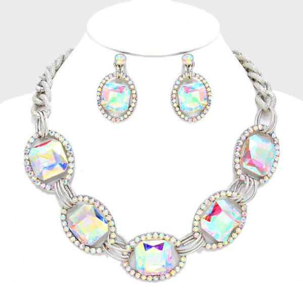 Link Rhinestone Necklace Set