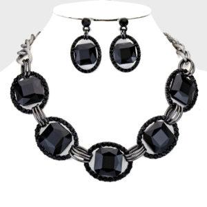 Link Rhinestone Necklace Set-Black-Silver-8749