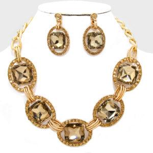 Link Rhinestone Necklace Set Brown-Gold-2756