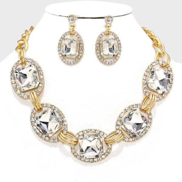 Link Rhinestone Necklace Set Clear-Gold-5358