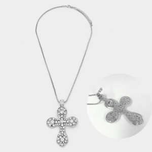 Magnetic Cross Pendant Necklace-Silver,Clear-1995