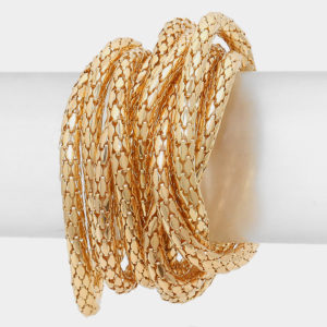 Mesh 10 layer Stretch Bracelet-Gold-8730