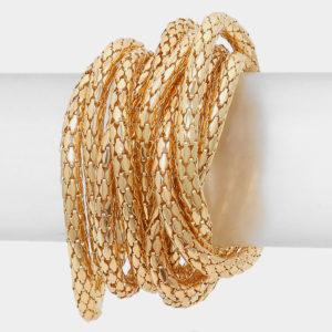Mesh 10 layer Stretch Bracelet-Gold-8730
