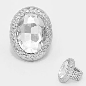 Oval Stretch Ring-Silver-7202