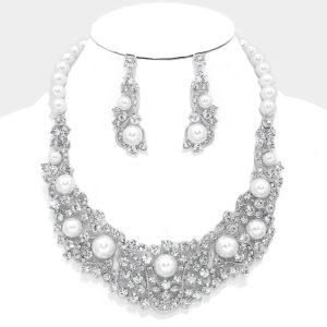 Pearl Vine Necklace Set-Silver-3437