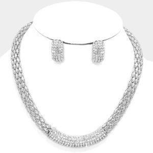 Silver Mesh Rhinestone Necklace Set