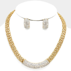 Silver Mesh Rhinestone Necklace Set-Gold-6033