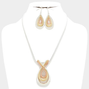Twisted Teardrop Pendant Necklace Set-Silver,Gold,Copper-3720