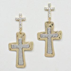 Cross Earrings-3649-10-Gold-silver