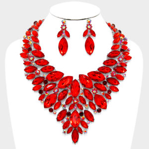 Marquise Bib Necklace Set-4104-48-Red