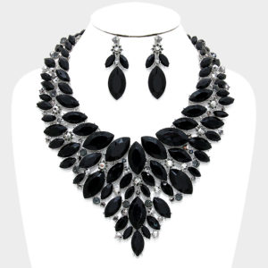 Marquise Bib Necklace Set-4106-48-Black