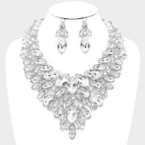 Marquise Bib Necklace amd Earrings Set-4103-48-Clear