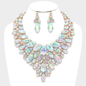 Marquise Bib Necklace and Earring Set-4101-48-AB-Gold