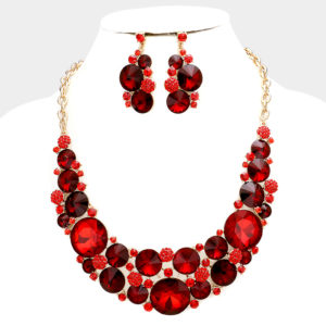 Bubble Necklace Set-1218-34.99-Red