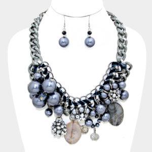 Chunky Flower Necklace Set-7816-39.99-Hematite