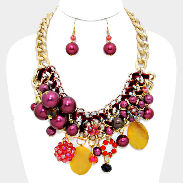 Chunky Flower Necklace Set-Burgundy-39.99-7811