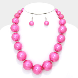 Chunky Pearl Necklace Set-6713-24.99-Pink