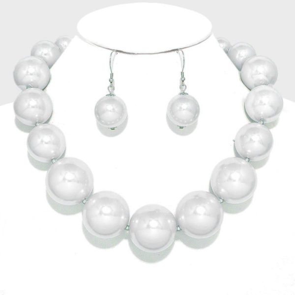 Chunky Pearl Necklace Set-9127-24.99-White