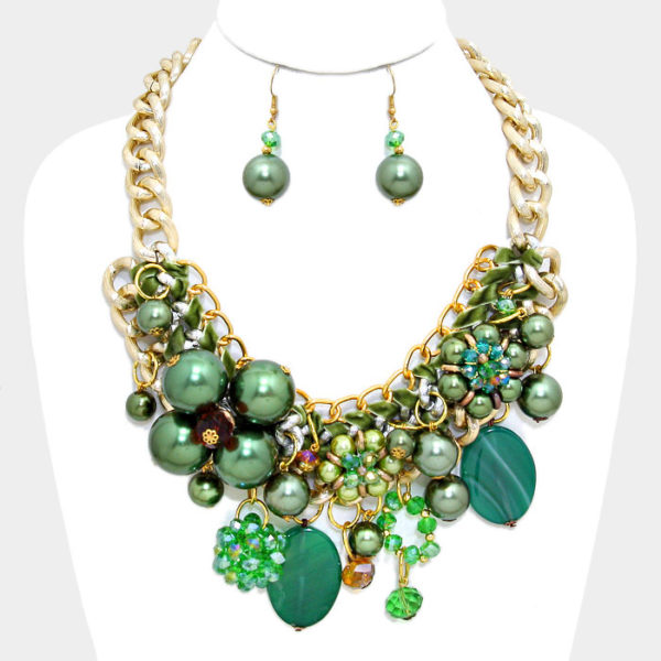 Chunly Flower Necklace Set-7815-39.99-Green