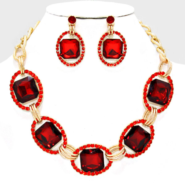 Link Necklace Set-5360-Red-34.99