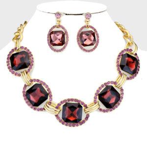 Link Necklace Set-8752-34.99-Purple