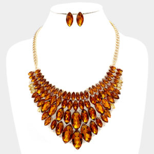 Marquise Bib Necklace Set-1234-34.99-Brown