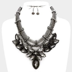 Statement Necklace Set-7908-34.99-Black