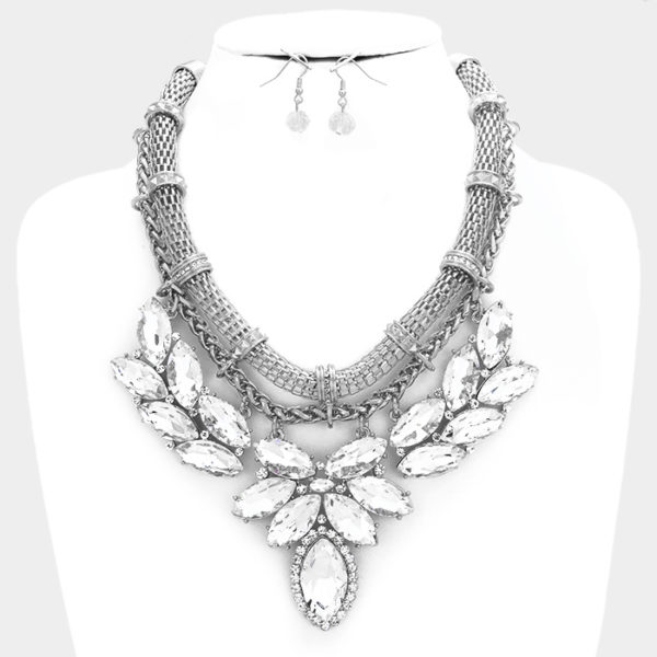 Statement Necklace Set-Silver-29.99-7910