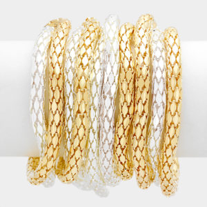 10 Layer Stretch Bracelet-2348-14.99-Gold-Silver