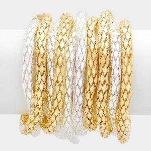 10 Layer Stretch Bracelet-2348-14.99-Gold-Silver