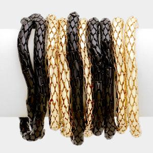 10 Layer Stretch Bracelet-3869-14.99-Blk-Gold