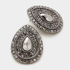 Crystal Teardrop Earrings-8722-9.99-Hematite