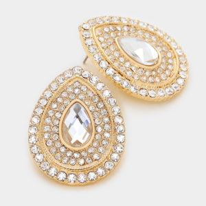 Crystal Teardrop Earrings-8723-9.99-Gold-Clear