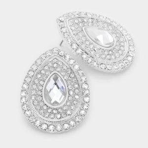 Crystal Teardrop Earrings-8724-9.99-CLear