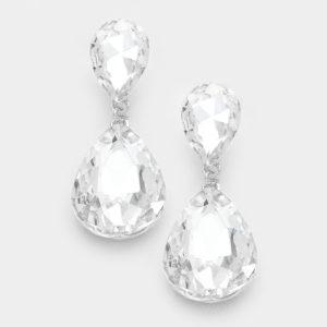 Double Teardrop-7729-Clear, Silver-9.99