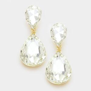 Double Teardrop Earrings-7730-9.99-Gold-Clear