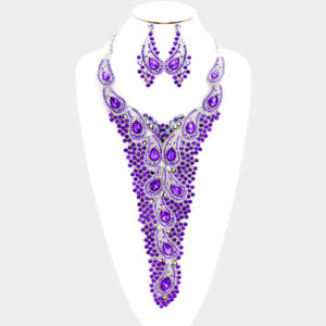 Embbellished Necklace Set-Purple-8478-48.00