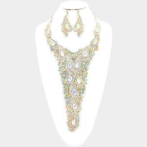 Embellished Necklace Set-Silver-AB-8475-48.00